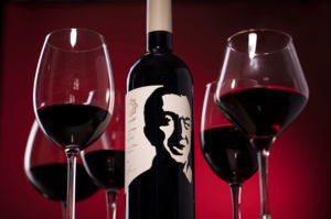 Предметная съемка этикетки на бутылке вина