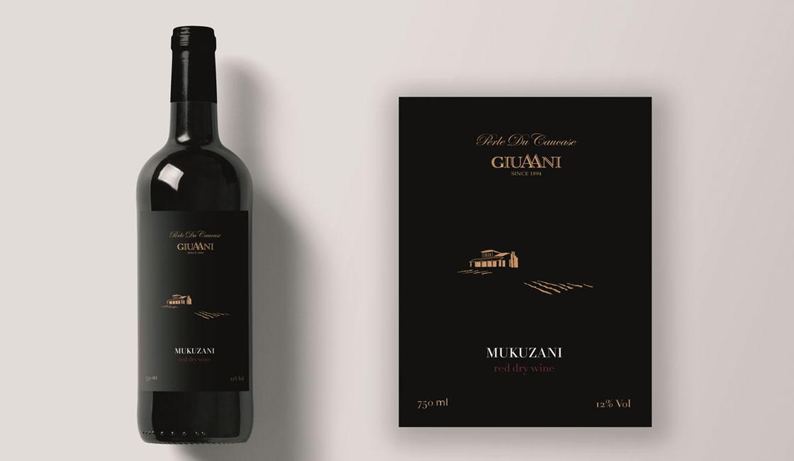 чорна етикетка для вина мукузані