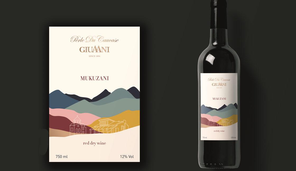 біла етикетка вина мукузані дизайн
