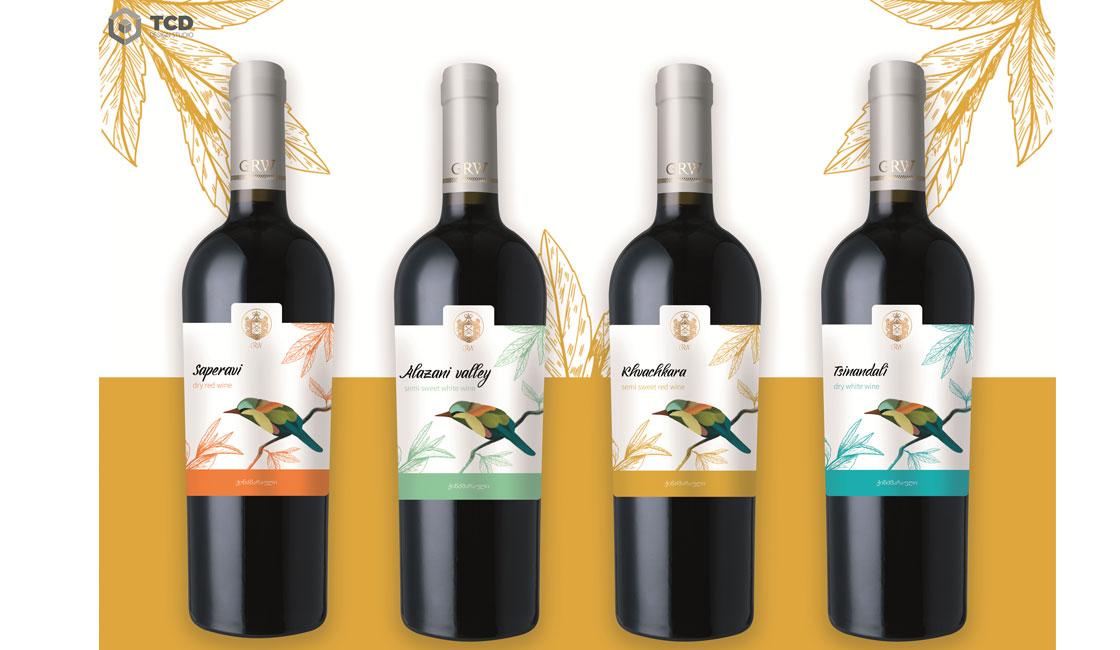 серия этикеток для грузинского вина gwr