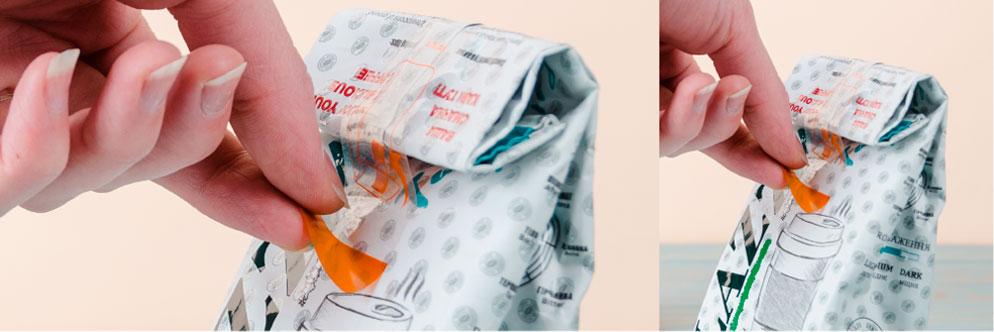 этикетка-клапан на пакет
